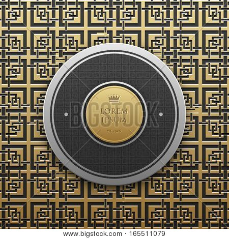 Round Text Banner Template On Golden Metallic Background With Seamless Geometric Pattern. Elegant Lu