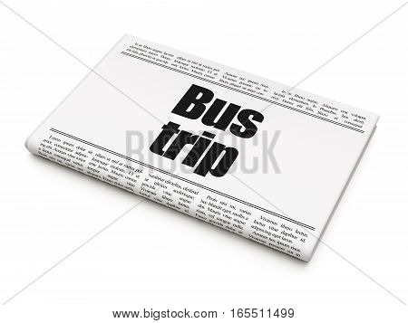 Tourism concept: newspaper headline Bus Trip on White background, 3D rendering