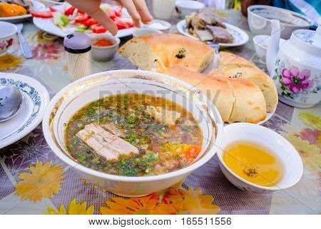 Shurpa, tasty soup, Uzbek cuisine, homemade bread