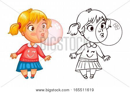 Funny girl inflates a bubble of gum. Funny cartoon character. Vector illustration. Coloring book. Isolated on white background