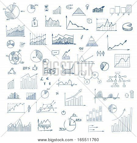 Freehand drawing charts items on a sheet of exercise book. Vector illustration. Set