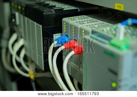 Network Cable In Control Panel Of Power Plant