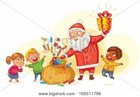 Santa Claus brings gifts to children. Merry Christmas and happy New Year. Funny cartoon character. Vector illustration. Isolated on white background