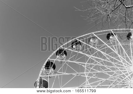 Ferris wheel in the park. Black and white image