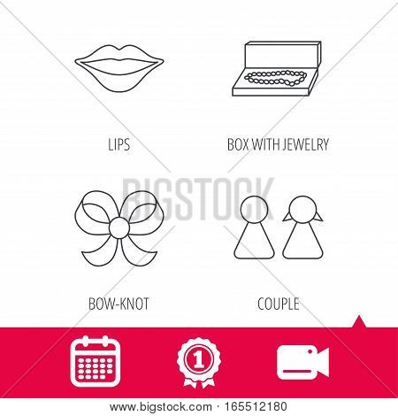 Achievement and video cam signs. Lips, box with jewelry and couple icons. Bow-knot linear sign. Calendar icon. Vector