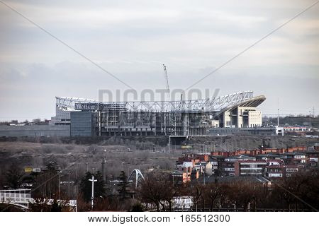 MADRID SPAIN - JAN 12 2017 - New Atletico de Madrid Stadium called Wanda Metropolitano under construction in the city of Madrid
