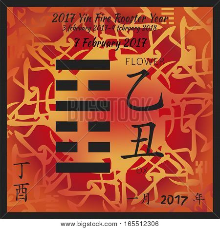 Symbol of i ching hexagram from chinese hieroglyphs. Translation of 12 zodiac feng shui signs hieroglyphs- flower and ox. I ching calendar of 2017 year with feng shi elements.