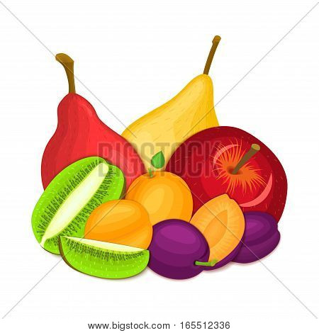 Composition of juicy apple pear apricot plum kiwi. Ripe vector fruits whole and slice appetizing looking. Group of tasty fruits for design packaging of juice, breakfast healthy eating vegan