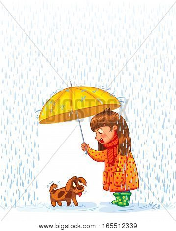 The girl under an umbrella with a small homeless puppy. Protect pet from autumn rain. Funny cartoon character. Vector illustration. Isolated on white background