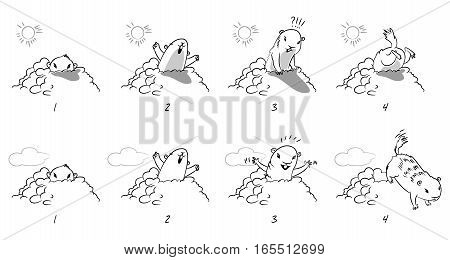 Groundhog Day. Funny cartoon character. Coloring book. Vector illustration. Isolated on white background. Set