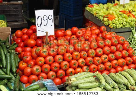 Pile of Red Tomatoes at Farmers Market