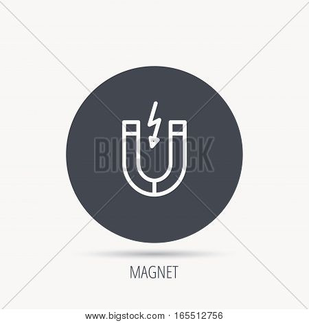 Magnet icon. Magnetic power sign. Physics symbol. Round web button with flat icon. Vector
