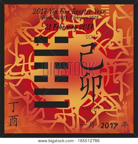Symbol of i ching hexagram from chinese hieroglyphs. Translation of 12 zodiac feng shui signs hieroglyphs- soil and rabbit. I ching calendar of 2017 year with feng shi elements.