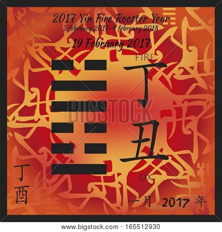 Symbol of i ching hexagram from chinese hieroglyphs. Translation of 12 zodiac feng shui signs hieroglyphs- fire and ox. I ching calendar of 2017 year with feng shi elements.