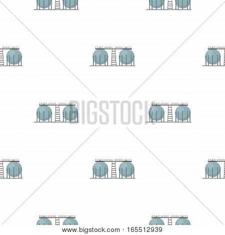 Oil refinery tank icon in cartoon style isolated on white background. Oil industry pattern vector illustration.