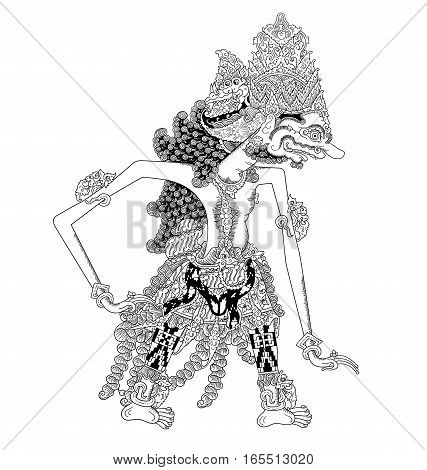 Bukbis, a character of traditional puppet show, wayang kulit from java indonesia.