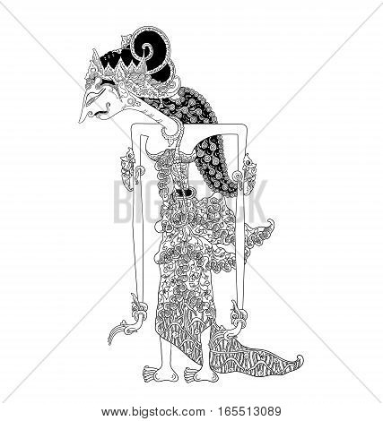 Dewi Citrawati, a character of traditional puppet show, wayang kulit from java indonesia.