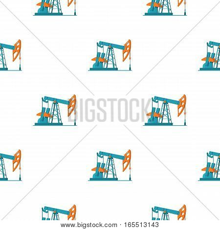 Oil pumpjack icon in cartoon style isolated on white background. Oil industry pattern vector illustration.