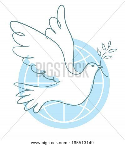 Peace dove with olive branch for International Peace Day poster