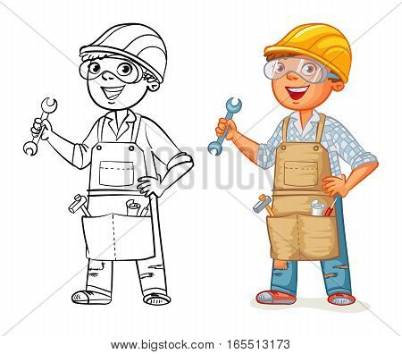 Construction worker in uniform standing with a wrench in his hands. Funny cartoon character. Vector illustration. Isolated on white background. Coloring book. Color and black and white image