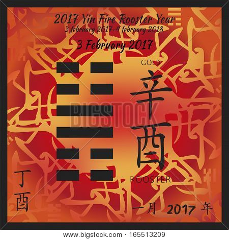 Symbol of i ching hexagram from chinese hieroglyphs. Translation of 12 zodiac feng shui signs hieroglyphs- gold and rooster. I ching calendar of 2017 year with feng shi elements.