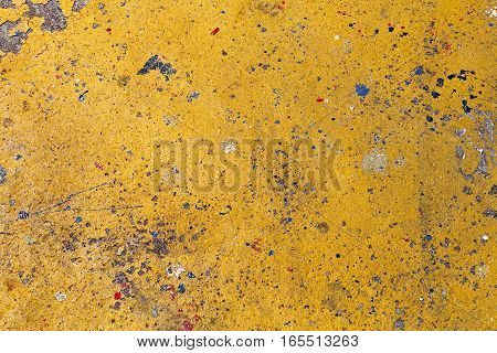 Abstract Yellow Background With Stains and Drops of Paint