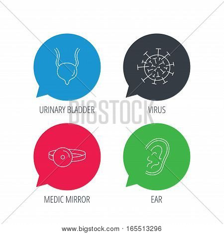 Colored speech bubbles. Virus, urinary bladder and ear icons. Medical mirror linear signs. Flat web buttons with linear icons. Vector