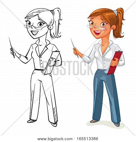 Business woman stands at the blackboard. Funny cartoon character. Vector illustration. Isolated on white background. Coloring book. Color and black and white image