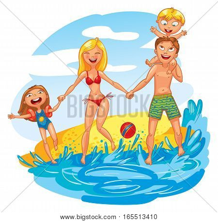 Young family with two kids on vacation. Funny cartoon character. Vector illustration. Isolated on white background