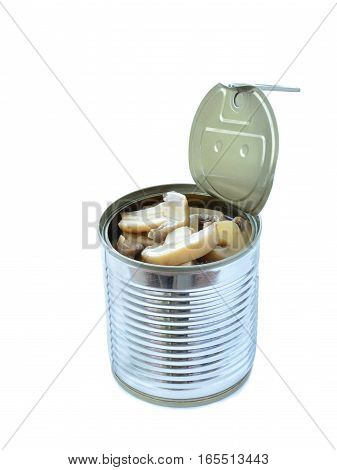 Canned button mushrooms in tin isolated on white background