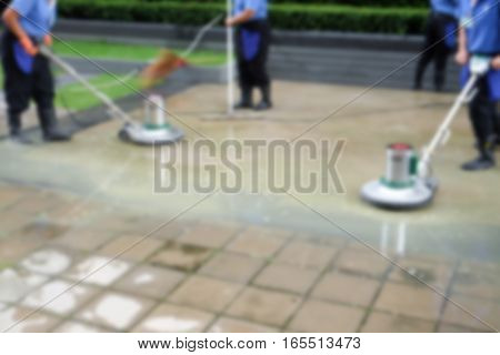 Blur background of scrubber machine for cleaning and polishing floor