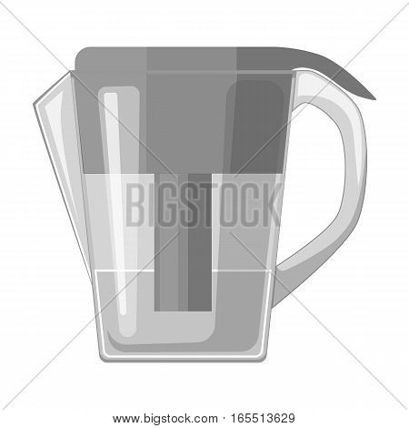 Water jug with filter cartridge icon in monochrome design isolated on white background. Water filtration system symbol stock vector illustration.