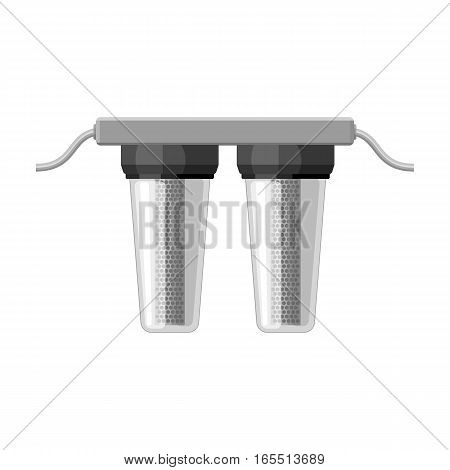 Water filters icon in monochrome design isolated on white background. Water filtration system symbol stock vector illustration.