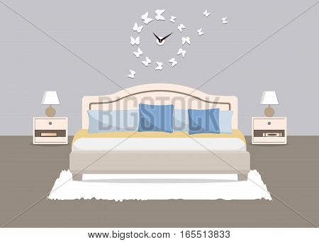 Bedroom in a blue color. There is a bed with pillows, bedside tables, lamps and other objects in the picture. There is also a big clock in a shape of butterflies on the wall. Vector flat illustration