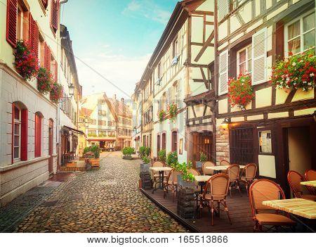 street of Petit France medieval district of Strasbourg, Alsace France, toned