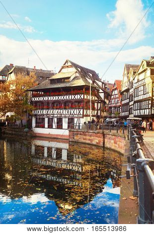 Petit France medieval old town district of Strasbourg, Alsace France, toned