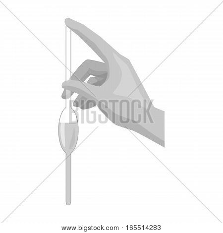 Filling of a bulb pipette by water icon in monochrome design isolated on white background. Water filtration system symbol stock vector illustration.
