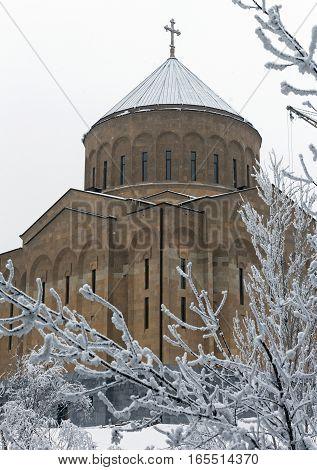 New armenian church in Yerevan, Transcaucasia, Armenia.