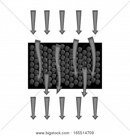 Water filtration through carbonic filter icon in monochrome design isolated on white background. Water filtration system symbol stock vector illustration.