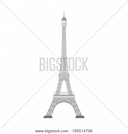Eiffel tower icon in monochrome design isolated on white background. Countries symbol stock vector illustration.