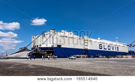 July 18  2016 - Tugboat-  nudge cargo ship - GLOVIS - Burgas, Bulgaria