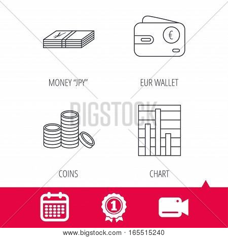 Achievement and video cam signs. Euro wallet, cash money and chart icons. Coins linear sign. Calendar icon. Vector