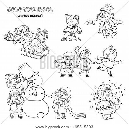 Playing outdoor. Children sledding. Boy and girl playing in snowballs. Schoolchildren making the snowman. Girl trying to catch snowflakes with her tongue. Funny cartoon character. Coloring book