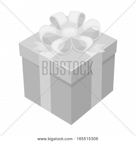 Gift icon in monochrome design isolated on white background. Charity and donation symbol stock vector illustration.