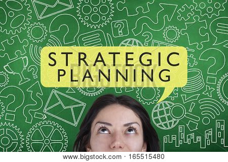 Strategic planning business strategy concept on blackboard