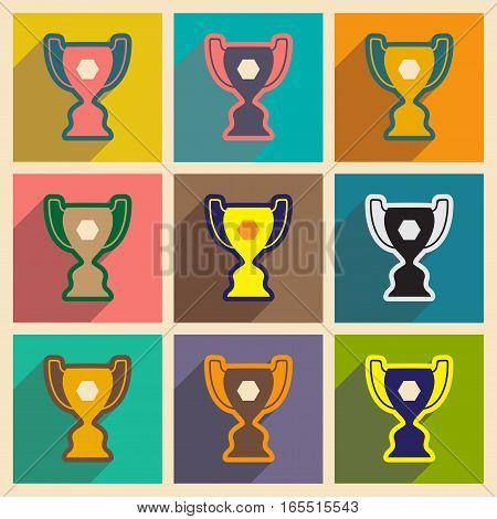 Set of flat icons with long shadow football cup