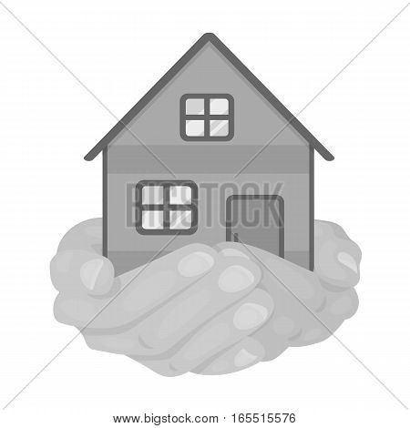 Property donation icon in monochrome design isolated on white background. Charity and donation symbol stock vector illustration.
