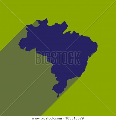 flat icon with long shadow map of Brazil