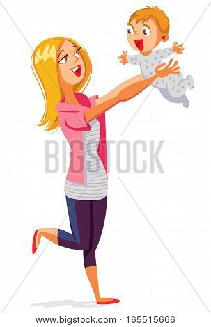 Young mum playing with baby. Funny cartoon character. Vector illustration. Isolated on white background