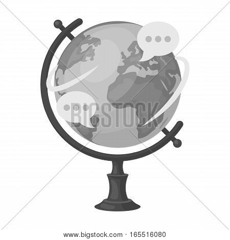 Globe of various languages icon in monochrome design isolated on white background. Interpreter and translator symbol stock vector illustration.